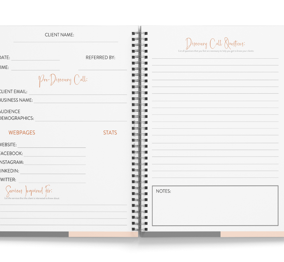 Discovery call worksheet mockup